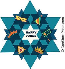星, 猶太, purim., david, 對象, 假期, 愉快