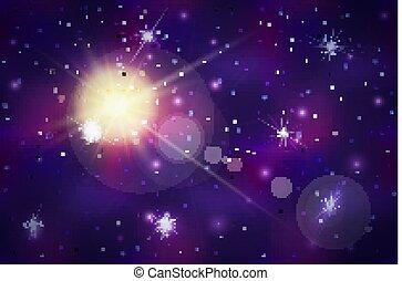 星, 空間, 閃光, 深, 透鏡, 明亮, 背景