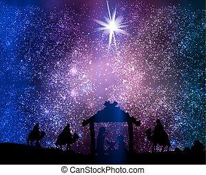 星, christ, 空間, 耶穌, 小屋, 背景, 聖誕節