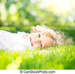 春天, 公園, 孩子