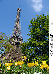 春天, 塔, eiffel, 巴黎