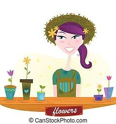 春天, 婦女, 花, 花園