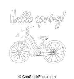 春天, 自行車, outline, 詞, 你好