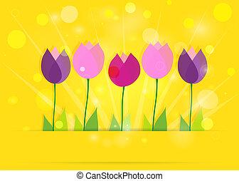 春天, eps10., bokeh., 黃色, 背景。, 矢量, 鬱金香