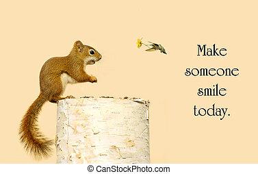 是, 大約, 他的, 松鼠, friend., 很少, 花, 鼓舞人心, 好心, 消息, 收到, 愉快, 蜂鳥