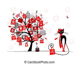 時裝, 購物, 樹, 季節, 銷售, 貓, 袋子, 設計, 你