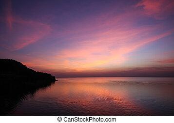 時間, 多, 天空雲, 顏色, 黃昏