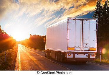 晚上, 卡車, 路, 瀝青