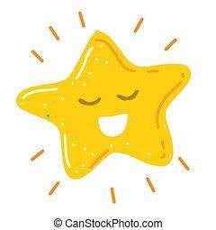 晴朗, 微笑高興, 矢量, 插圖, 很少, 星