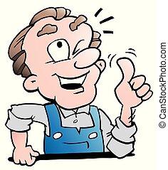 更老, 工人, 插圖, 矢量, 年長者, 卡通
