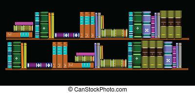 書架, 插圖, 圖書館, 矢量