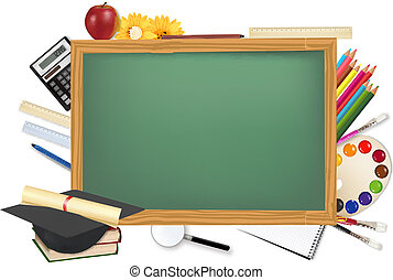 書桌, 提供, 學校, 綠色