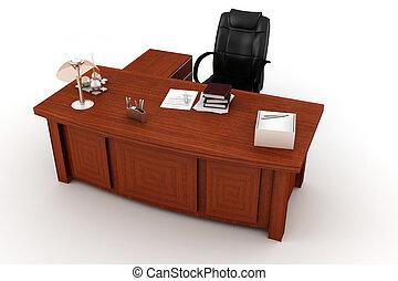 書桌, 白色, 經理人, 3d