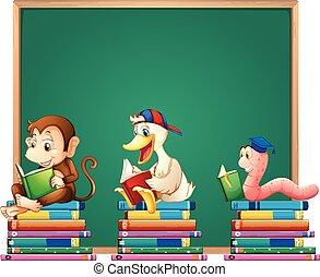 書, 動物, 板, 樣板, 閱讀
