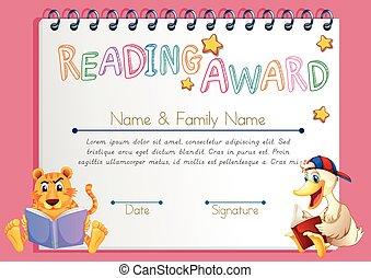 書, 動物, 樣板, 褒獎, 閱讀
