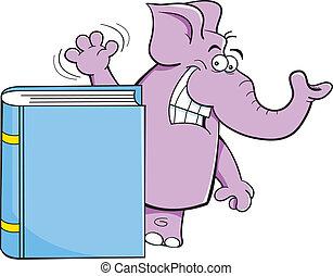書, 卡通, 大象
