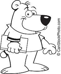 書, 卡通, 熊