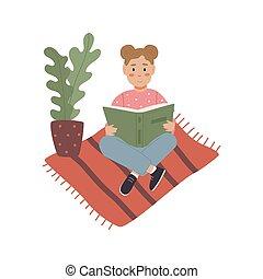 書, 地板, 閱讀, 女孩
