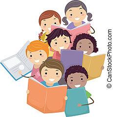書, 孩子, stickman, 閱讀, 插圖