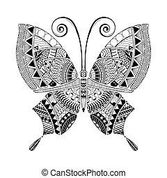 書, 矢量, 著色, 風格, 蝴蝶