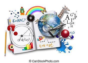 書, 科學, 打開, 數學, 學習