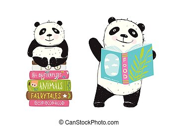 書, 閱讀, 熊貓狗熊