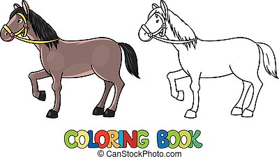 書, horse., 有趣, 著色