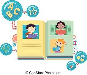 書, stickman, 閱讀, 插圖, 孩子