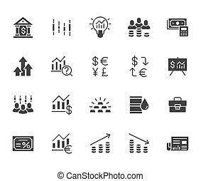 最小, 經紀人, 簽署, 應用, 增加, illustration., 圖象, glyph, 黑色半面畫像, 債券, 金融, 矢量, set., 市場, 套間, 簡單, 股票, 收入, 投資者, 投資, 黑色, 分析