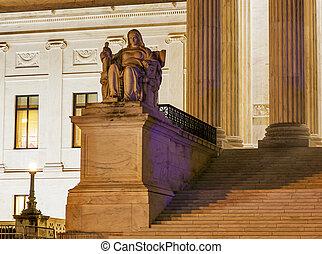 最高法院, 州議會大廈, 華盛頓特區, 我們, 小山, 雕像