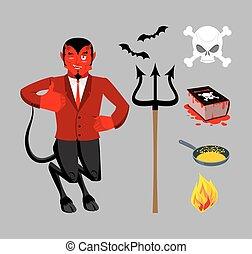 最高, 字, boss., necronomicon, lucifer, bats., 宗教, 王子, 紅的魔鬼, 黑暗, set., sinners., underworld., accessories., 書, 黑色, dead., 平鍋, satanic, 三叉戟, 油煎, 精神, 魔術, demon., hellfire., evil., 神話