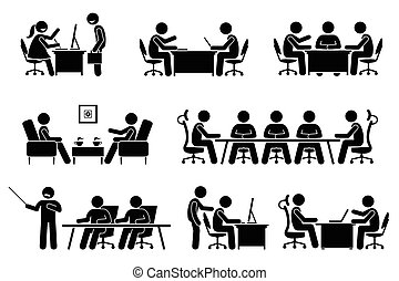 會議, 商人, discussion., 業務會議