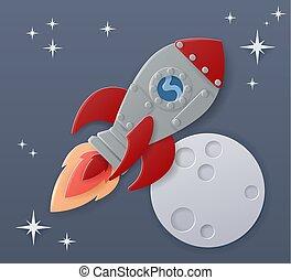月亮, 卡通, 紙, 船, 場景, 空間 工藝, 火箭