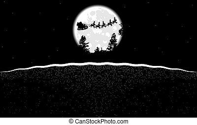 月亮, 風景, 黑色, 聖誕老人, 白色, 克勞斯
