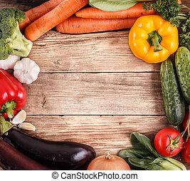有机, 空間, 蔬菜, text., 食物。, 木頭, 背景
