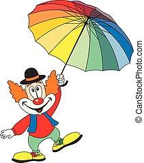 有趣, 傘, 藏品, 小丑, 卡通