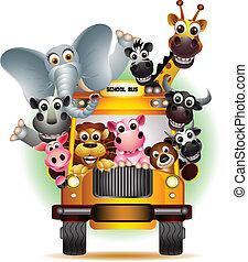 有趣, 卡通, 動物, 黃色的汽車