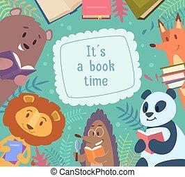 有趣, 學校孩子, 動物, 大約, 框架, books., 背景, 背, 矢量, 字符, 閱讀, 卡通