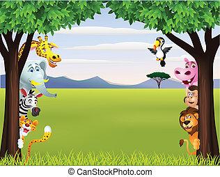 有趣, 旅行隊, 動物, 卡通