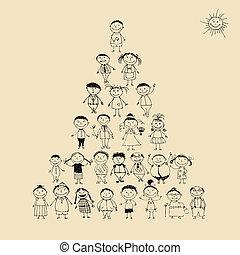 有趣, 略述, 金字塔, 家庭, 大, 一起, 微笑, 圖畫, 愉快