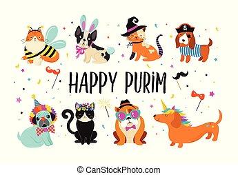 有趣, illustration., 狂歡節, 鮮艷, 漂亮, 服裝, 動物, 狗, purim, 矢量, 貓, 旗幟, pets., 愉快
