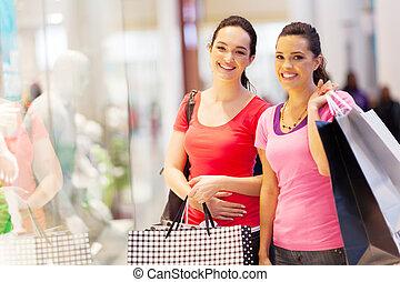 朋友, 購物中心, 購物, 二, 愉快
