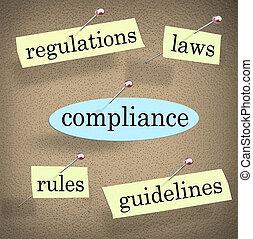 服從, 規則, 方針, 規章, 板, 公報, 法律