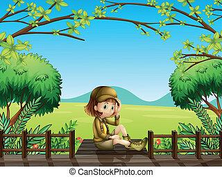 木制橋, 女孩, 坐