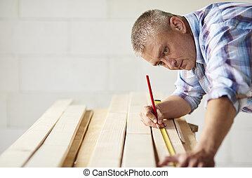 木制, 兩次, 材料, 木匠, 措施