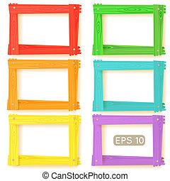 木制, 圖片, 集合, 框架, 顏色