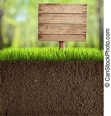 木制, 土壤, 傷口, 花園, 簽署