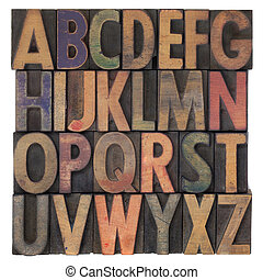 木制, 字母表, 類型, letterpress, 葡萄酒