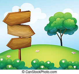 木制, 小山, 箭, signage