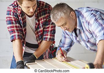 木制, 年長者, 措施, 木匠, 板條